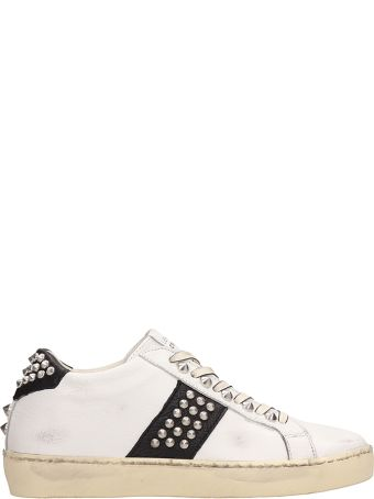 Leather Crown Iconic Sneakers In White Leather