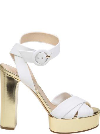 Casadei White Nappa Sandals White Color