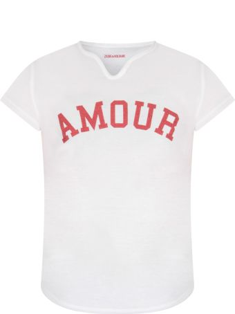Zadig & Voltaire White T-shirt For Girl With Writing