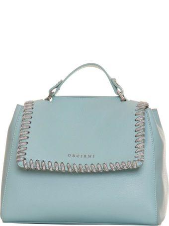 Orciani Sveva White Chain Bag In Blue