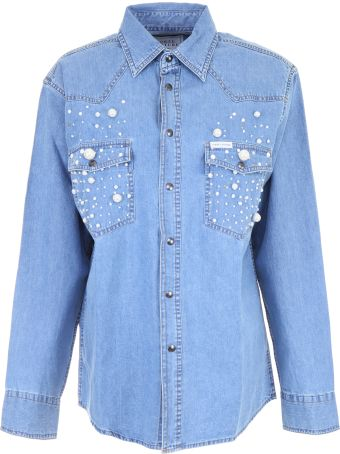 Forte Couture Denim Shirt With Pearls
