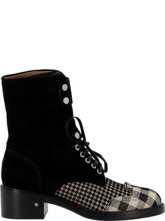 Laurence Dacade Black And White Tartan And Suede Ankle Boots
