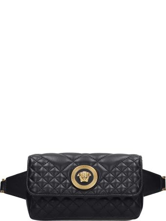 Versace Waist Bag In Black Leather