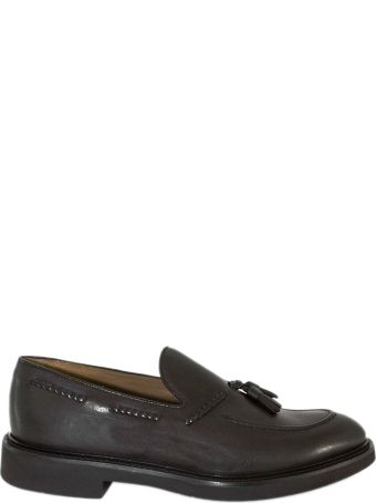 Doucal's Brown Tassel Leather Loafer.