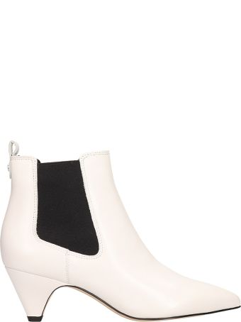 Sam Edelman White Leather Ankle Boots