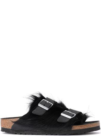 Birkenstock Arizona Cowhide Fur And Black Leather Sandal- Premium