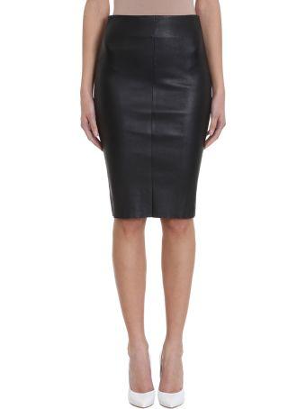 DROMe Black Leather Pencil Skirt