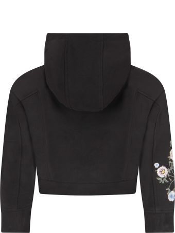 Givenchy Black Sweatshirt With Flowers For Girl