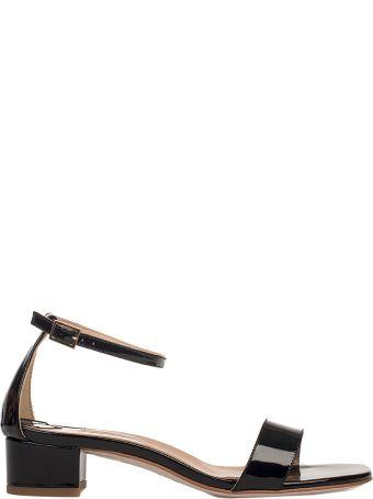Fabio Rusconi Black Patent Leather Heeled Sandal