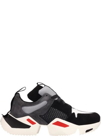 Ben Taverniti Unravel Project Black And Grey Suede And Fabric Sneakers