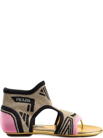 Prada Thong Knit Flat Sandals