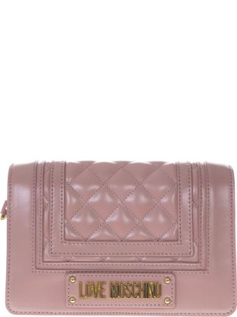 Love Moschino Pink Faux Leather Bag With Quilted Detail