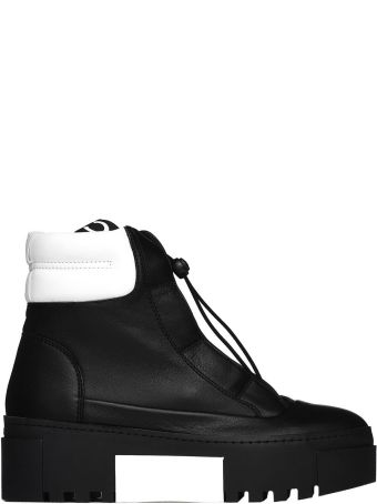 Vic Matié Black And White Hiking-style Heeled Ankle Boots