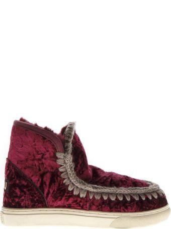 Mou Eskimo Burgundi Wool & Velvet Sneakers Boots