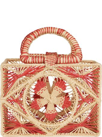 Sensi Studio Red And Natural Straw Bag