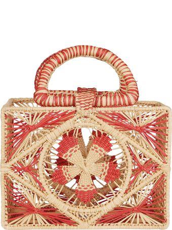 Sensi Studio Red And Natural Straw Bag