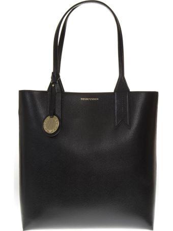 Emporio Armani Black Smooth Faux Leather Bag