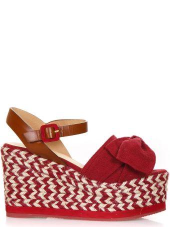 Castañer Red Fabric Eucalipto Sandals