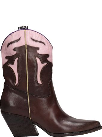 Elena Iachi Tex Brown Pink Leather Ankle Boots