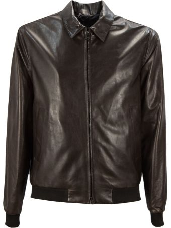 Herno Brown Leather Jacket