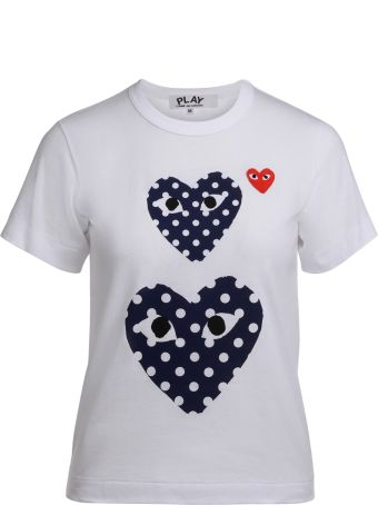 Comme des Garçons Play White T-shirt With Blue Polka Dot Hearts
