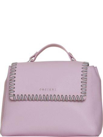 Orciani Sveva White Chain Bag In Pink