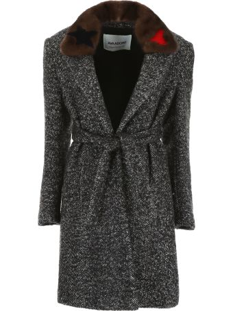 Ava Adore Chevron Coat With Mink Fur