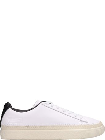 Puma Basket Trim White Leather Sneakers