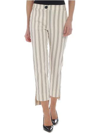 Patrizia Pepe Striped Cotton And Linen Trousers