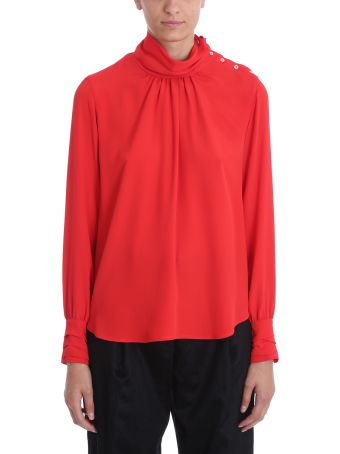 Mauro Grifoni Red Crepe Cotton Blouse