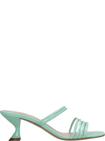 Kalda Simon Mini Sandals In Green Patent Leather
