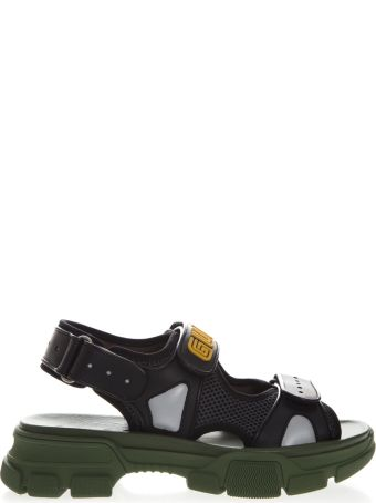 Gucci Black And Green Sandal In Leather And Mash