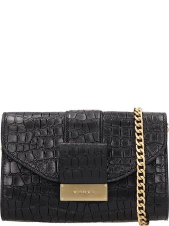 Visone Black Leather Mila Bag