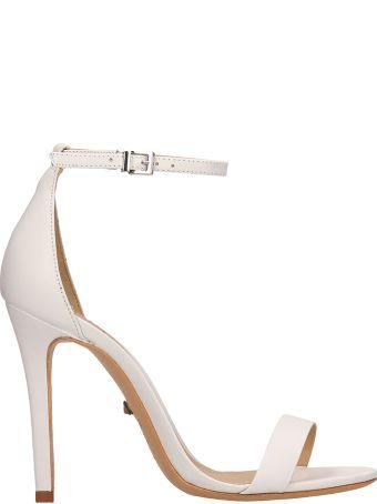 Schutz White Calf Leather Sandals