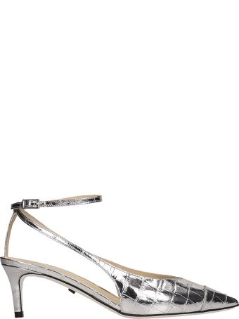 Grey Mer Pumps In Silver Leather