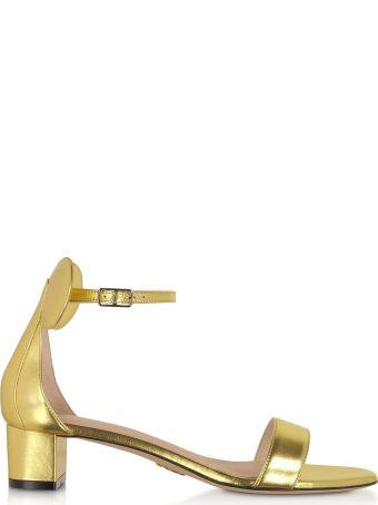 Oscar Tiye Gold Minnie Block Mid Heel Sandals