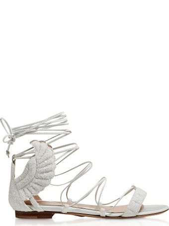 Oscar Tiye White Glitter Malikah Flat Sandals