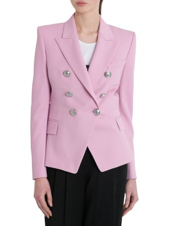 Balmain Classic Double Breasted Blazer With Silver Buttons
