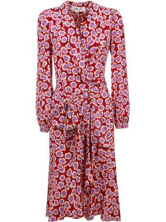 Diane Von Furstenberg Floral Print Belted Dress