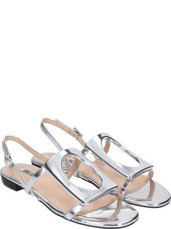 Bibi Lou Flats In Silver Leather