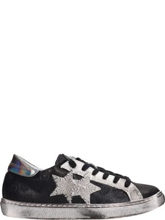 2Star Washed Black Leather Low Star Sneakers