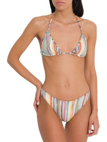 Missoni Metallic Multi-coloured Stripe Triangle Bikini