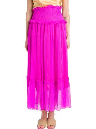 MSGM Smocked-waist Crinkled Chiffon Skirt