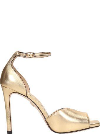 Lola Cruz Gold Calf Leather Sandals