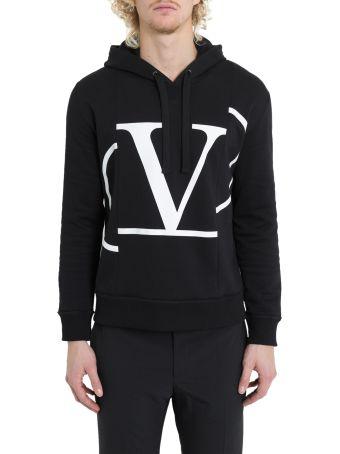 Valentino V Logo Print Jersey Hoodie