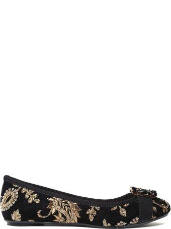 Anna Baiguera Annette Flex Crystal-embellished Embroidered-velvet Ballet Flats