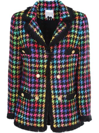 Edward Achour Paris Multicolour cotton blend checked double breasted blazer