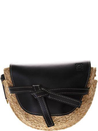 Loewe Gate Rafia & Leather Shoulder Bag
