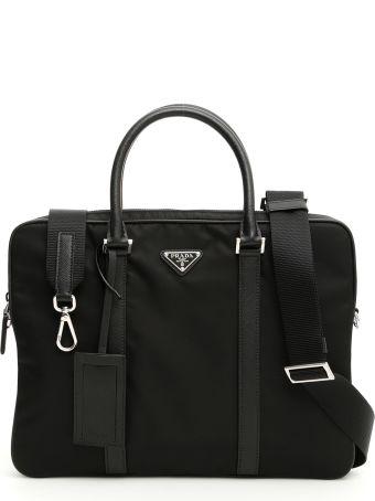 Prada Nylon And Saffiano Briefcase