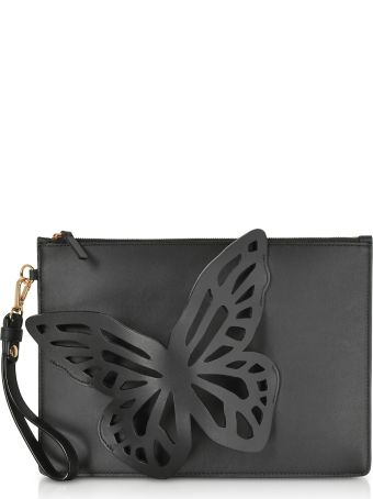 Sophia Webster Black Flossy Butterfly Pouchette